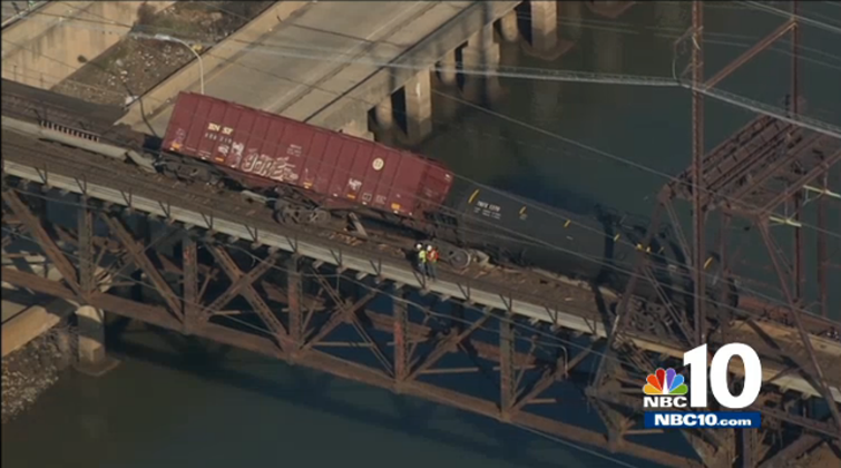 Two freight cars derailed over the Schuylkill River, January 20, 2014 | NBC10