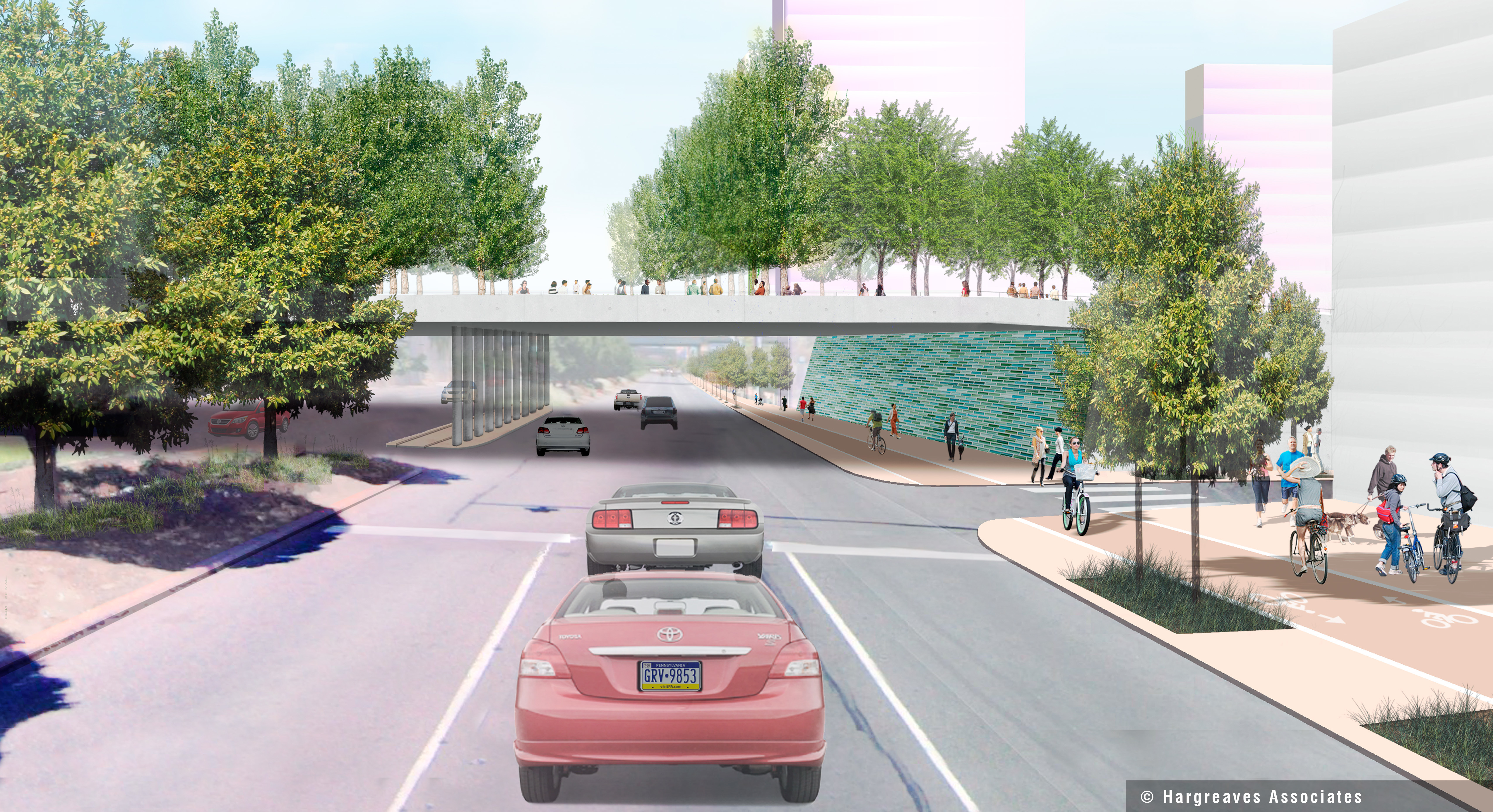 View of Columbus Boulevard beneath the proposed park, © Hargreaves Associates