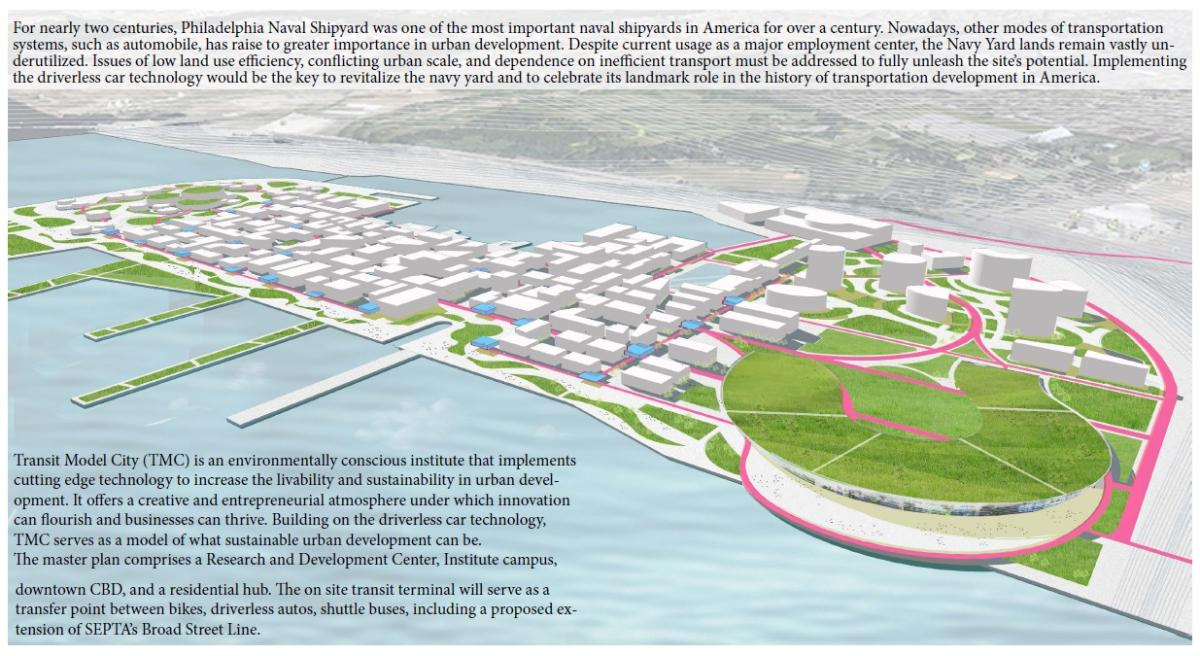 Driverless systems still have many technological, sociological, and legal issues to work through. This plan proposes using the as-yet largely undeveloped Navy Yard as a test-bed for working through these issues before rolling the technology out on a broader scale.
