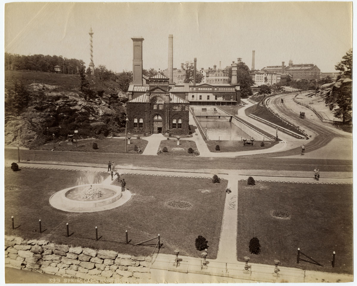 Historical photo of the former Spring Garden Waterworks
