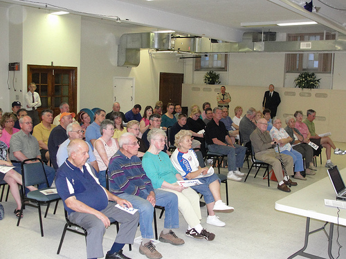 More than 60 residents were in attendence at the meeting's peak.