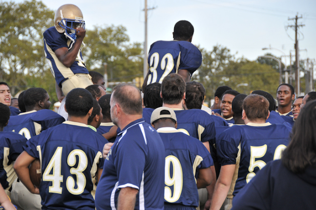 The Eagles celebrate their 41-10 victory over Overbrook.