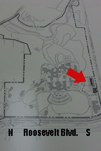 The red arrow indicates Excel Academy's placement on Friend's Hospital's grounds.