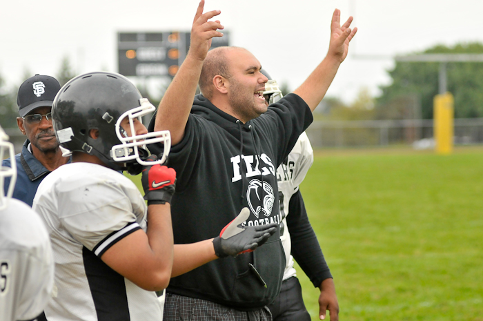 Panther coach Bill Harrigan is quite pleased with the touchdown and two-point conversion.