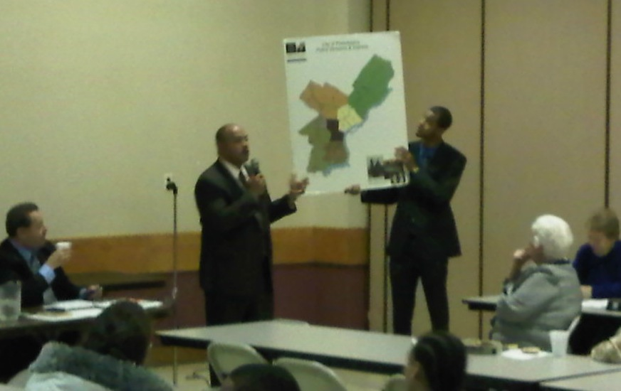 Democratic district attorney candidate Seth Williams discusses the city's geographic assignments at the Lawncrest Civic Association meeting.