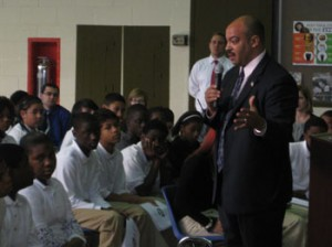 Democratic District Attorney-elect Seth Williams addresses Shallcross Academy students about youth violence.