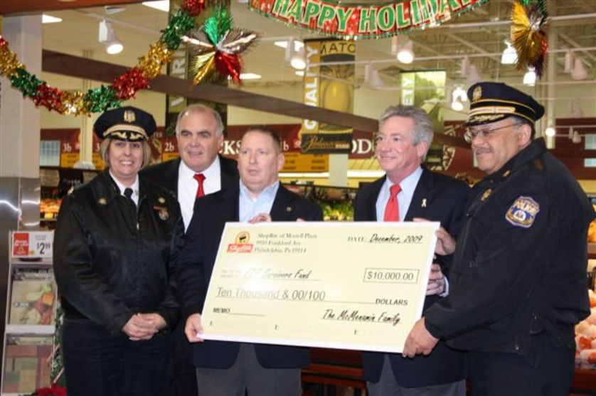 From left: 8th District Police Capt. Deborah Kelly, FOP Marketing Director Steven Weller, Morrell Park ShopRite owner/operator Richard McMenamin, State Rep. Denny O'Brien and Police Commissioner C