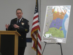 Lt. Thomas Hyers of the Police Commissioner's executive staff explains advances coming to the 15th District.