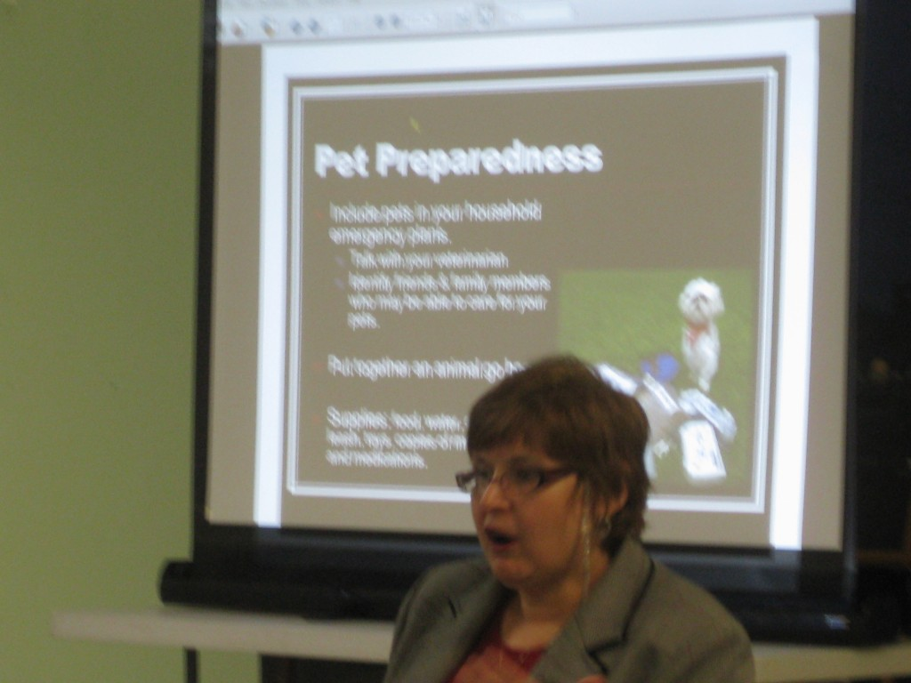 Joan Przyblowicz of the city's Office of Emergency Management discusses how to best prepare for an emergency as part of a presentation to members of the Holme Circle Civic Association.