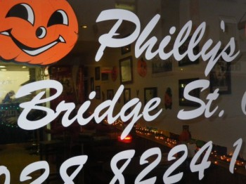 Philly's Phinest window, seen here decorated for Halloween.