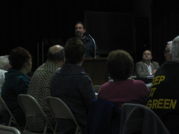 Upper Holmesburg Civic Association Zoning Officer Paul DeFinis leads the zoning discussion at the March meeting.