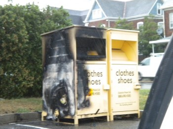The Planet Aid donation box at Bleigh and Oxford avenues was set on fire over the weekend. Photo courtesy of Fox Chase Town Watch.