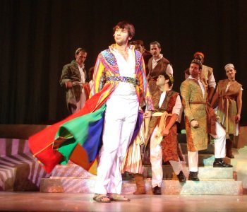 Matthew Morley Rusk as the title character in the Devon Theater's production of Joseph and the Amazing Technicolor Dreamcoat, running Nov. 12 to Dec. 13, 2009. Photo credit Kim Reilly, Devon Theat