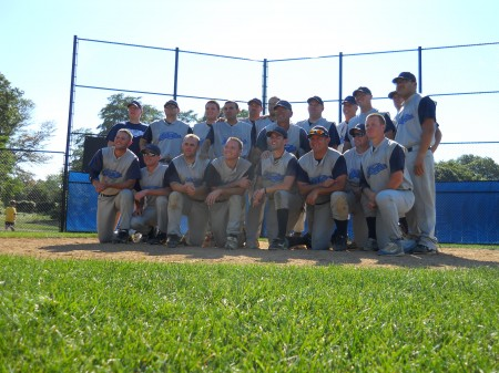 The Blue Sox in front of the pitchers mound at Ward Field after mounting a come-from-behind victory against the Cherry Hill Phillies for the NJIBL championship. Photo by Tom Rowan.