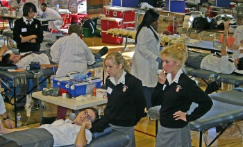 Students at Archbishop Ryan donate blood. Photo submitted by Archbishop Ryan High School.