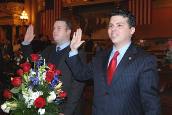 Kevin (L) and Brendan (R) Boyle were sworn into the House yesterday. Photo courtesy of the House Democratic Communications Office.