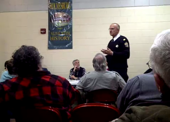 15th District Capt. Bachmayer reviews crime statistics with Holmesburg residents.