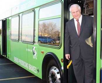 Greater Philadelphia Northeast Chamber of Commerce President Al Taubenberger tours a SEPTA hybrid bus. Photo courtesy of GNPCC.