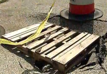The Streets Department says it will fix the sinkhole on the 2200-block of Friendship Street. Image courtesy of Fox29.