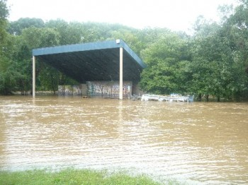 Pennypack Park's stage flooding during Hurricane Irene. Photo by Tom Price.