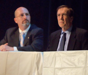 Democrat Bill Rubin (L) and incumbent Republican Brian O'Neill (R) at the 10th District City Council debate