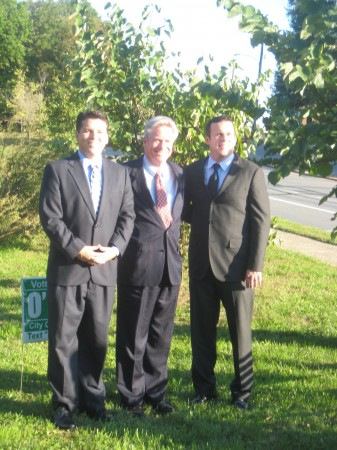 State Rep. Denny O'Brien (center) announced bipartisan endorsements for his city council campaign from Democratic Reps. Brendan (left) and Kevin (right) Boyle.