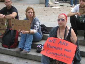 Jodie Rizzo,(right), of Holme Circle at Occupy Philly